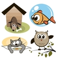 Owl fish cat and dog vector image