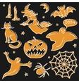 Chalkboard Halloween silhouette set vector image vector image