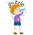 Little boy gazzle from water bottle vector image