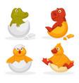 baby animals hatch eggs or cartoon pets hatching vector image
