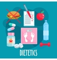 Dietetics nutrition healthy lifestyle flat icon vector image
