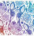 flash bull terrier dog seamless pattern and roses vector image