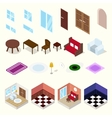 Isometric rooms with furniture vector image