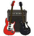 Red and black electric guitars and the combo vector image