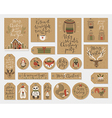 Christmas kraft paper cards and gift tags set hand vector image