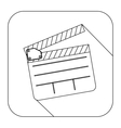 square shape with silhouette clapperboard cinema vector image