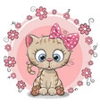greeting card kitten with flowers vector image