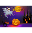 background halloween with pumpkin and house vector image