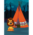 Lion at camp vector image