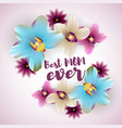 best mom ever lettering orchid backdrop vector image