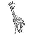 cartoon cute giraffe coloring page vector image