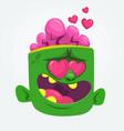 cartoon green zombie in love vector image