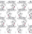 cheerful puppy dalmatian breed seamless pattern vector image