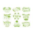 green hand drawn vegetable menu logos set vegan vector image