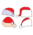 Set doodle Christmas hats vector image