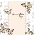 Vintage invitation card with white butterfly vector image