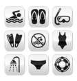 Swimming scuba diving sport buttons set vector image