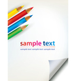 paper sheet with the corner and colored penciles vector image