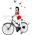 Elegant pinup girl on a bicycle vector image vector image