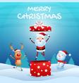 cheerful santa claus in gift box snowman reindeer vector image