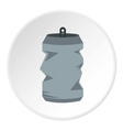 Crumpled aluminum can icon flat style vector image