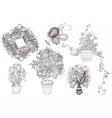 Garden set with 6 plants in flowerpot vector image