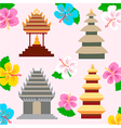 Indonesian pagoda and hibiscus flowers vector image