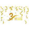 isolated golden color number 3 with word years vector image