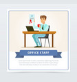 satisfied young man sitting at the table holding vector image