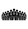 stick figure icon businessmen big company human vector image