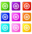 Beer bottle cap icons 9 set vector image