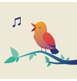 Cute singing bird on branch vector image