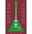 2016 Christmas tree guitar calendar vector image vector image