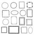 Hand drawn doodle frames borders set vector image