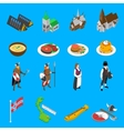 Norway Touristic Attractions Isometric Icons vector image