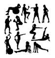 elegant women silhouette doing fitness exercise vector image