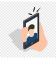 man taking selfie photo on smartphone isometric vector image