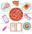 sketch eat food top view vector image