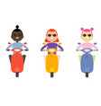 woman girl riding scooter flat design isolated vector image