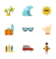 Swimming on surf icons set flat style vector image