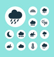 weather icons set collection of wet cloudy vector image