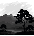 Mountain landscape with tree silhouettes vector image vector image