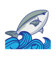 fish animal in the sea with waves design vector image