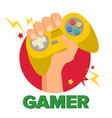 gamer hand with joy stick game concept vector image