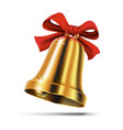 gold christmas bell with red ribbon bow vector image