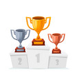 gold silver bronze trophy cups winner goblet on vector image