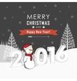 Greeting card with snowmen and snowfall vector image