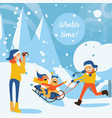 happy family with kids sledding vector image