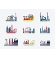 Industrial buildings icons vector image