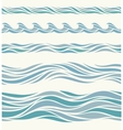 Set seamless pattern with stylized blue waves vector image